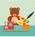 bear teddy train wagon paint brush color palette
