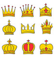beauty style crown elegant set vector image vector image