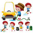 boy doing different types of chores vector image