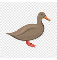 brown duck icon cartoon style vector image
