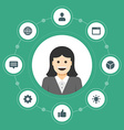 Business woman concept and flat icons set thumbs vector image vector image