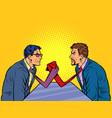 businessmen arm wrestling ties instead hands vector image vector image