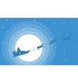 Christmas landscape train santa on sky vector image vector image