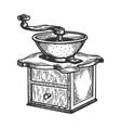 coffee grinder engraving vector image