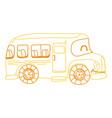 color line kawaii smile school bus transport vector image