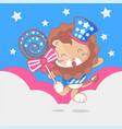 cute american lion cartoon for kids vector image