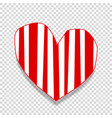 cute big red paper cut out heart sticker with vector image