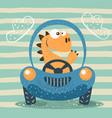 cute dino drive funny car vector image vector image