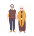 cute happy elderly couple isolated on white vector image vector image