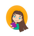 cute little girl holding book vector image vector image