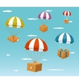 Delivery Concept - Gift Boxes on Parachute vector image