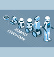 evolution of robots isometric vector image