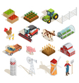 Farm Isometric Icons Collection vector image vector image