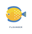 flounder sea fish geometric flat style design vector image vector image