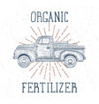 hand drawn engraved retro vintage truck vector image vector image