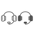 headphones with microphone line and glyph icon vector image