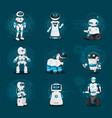 humanoids and androids robots collection vector image