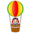 little boy riding hot air balloon on white backgro vector image vector image