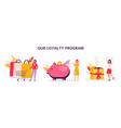loyalty savings program with women cartoon flat vector image vector image
