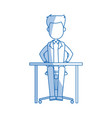 man sitting business office desk chair vector image