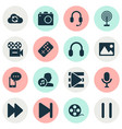 media icons set with image earphone synchronize vector image