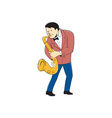 Musician Playing Saxophone Cartoon vector image