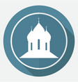orthodox cathedral church on white circle with a vector image
