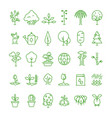 Plant planting seed and trees line icons