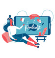 podcast listening concept webinar online training vector image