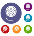 reel with film icons set vector image vector image