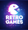 retro game neon sign with glitch effect vector image