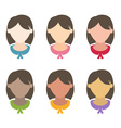 Set flat design girls hairstyles vector image vector image