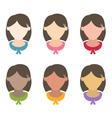 Set flat design girls hairstyles vector image vector image