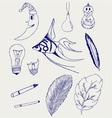 set hand-drawn design elements vector image vector image