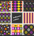 set of halloween seamless pattern flat design vector image