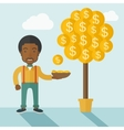 Successful African businessman standing while vector image vector image