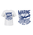 t-shirt print with squid calamary on waves vector image vector image