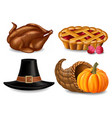 thanksgiving set realistic turkey pie and vector image