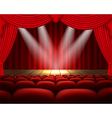 Theater stage with a red curtain and a spotlight vector image