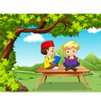 Two boys reading books in the park vector image vector image