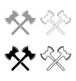 two double-faced viking axes icon set grey black vector image vector image