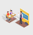 two students boy and girl sit at desk teacher vector image