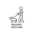 walking with dog thin line icon sign symbol vector image