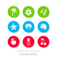 white nature icons collection buttons vector image vector image