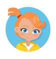nice smiling girl with pigtail cartoon style vector image
