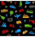 seamless background colors icons transport vector image