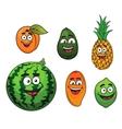 Fresh tropical fruits set vector image
