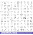 100 carnival icons set outline style vector image vector image