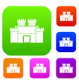 ancient fortress set color collection vector image vector image