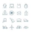 big linear icons set of logistics vector image
